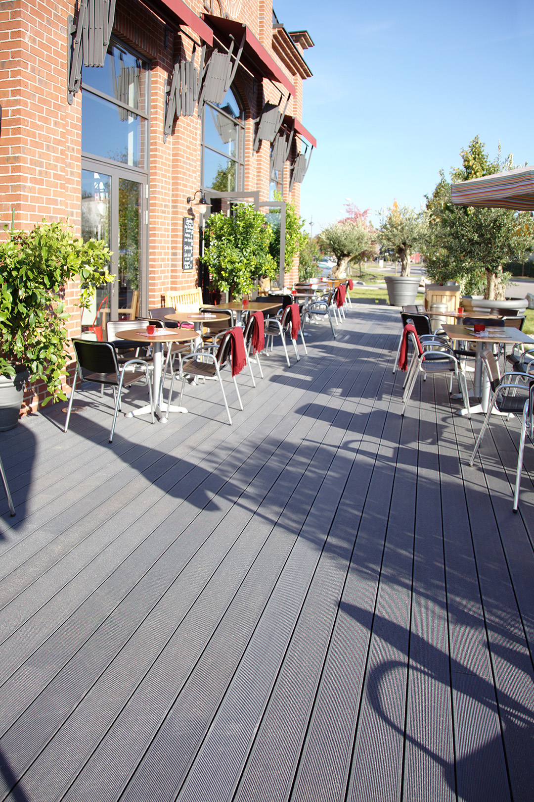 UPM ProFi composite decking at a restaurant
