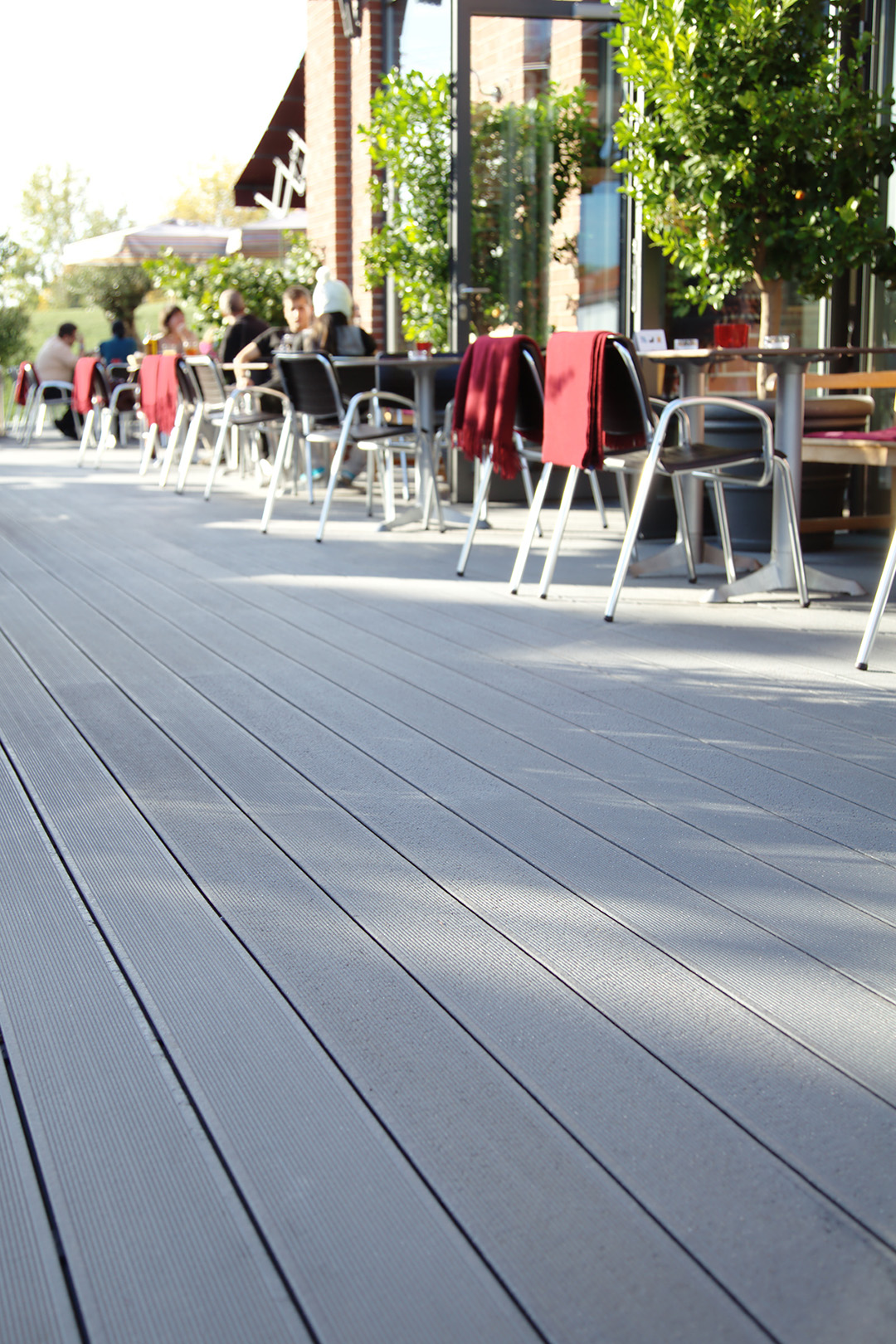 Composite decking UPM ProFi Deck 150 at a restaurant